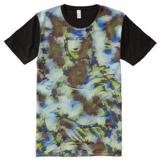 Mona Lisa Acrylic Abstract Portrait All-Over Print T-Shirt