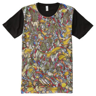 Mona Lisa Art Nouveau Abstract Portrait All-Over Print T-Shirt