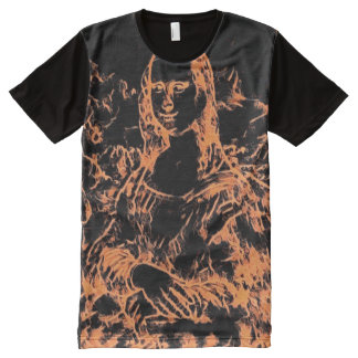 Mona Lisa Black Light Paint Portrait All-Over Print T-Shirt