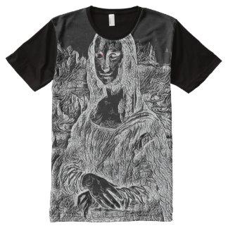 Mona Lisa Black Light Portrait All-Over Print T-Shirt