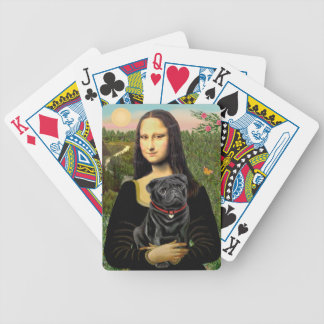 Mona Lisa - Black Pug Bicycle Playing Cards
