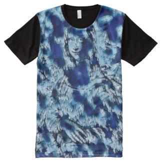 Mona Lisa Blue Abstract All-Over Print T-Shirt