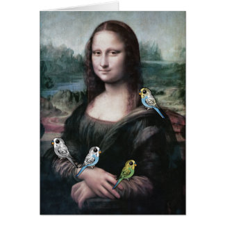 Mona Lisa & Budgies Card