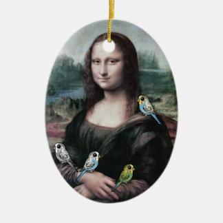 Mona Lisa & Budgies Ceramic Ornament