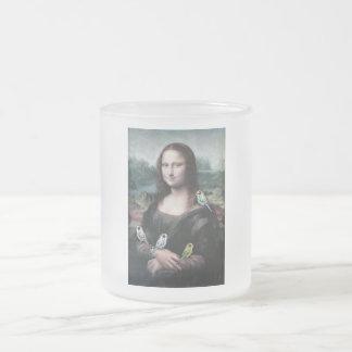 Mona Lisa & Budgies Frosted Glass Coffee Mug