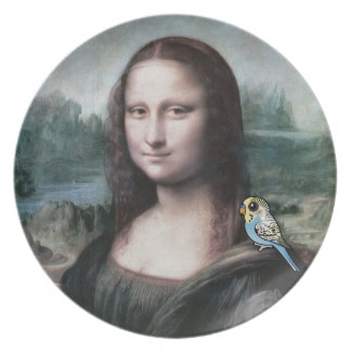 Mona Lisa & Budgies Plate