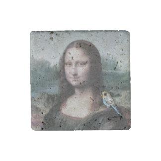 Mona Lisa & Budgies Stone Magnet