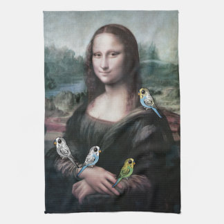 Mona Lisa & Budgies Tea Towel