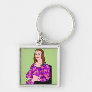 Mona Lisa Cartoon Image Key Ring