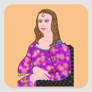 Mona Lisa Cartoon Image Square Sticker