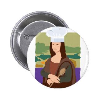 Mona Lisa Chef Pinback Buttons