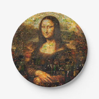 mona lisa collage - mona lisa mosaic - mona lisa paper plate