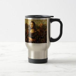 mona lisa collage - mona lisa mosaic - mona lisa travel mug