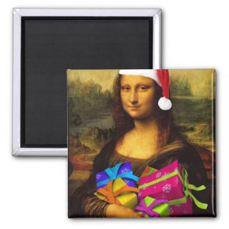 Mona Lisa Comes As Santa Claus Magnet