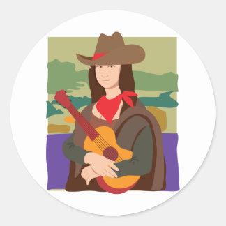Mona Lisa Cowgirl Round Sticker