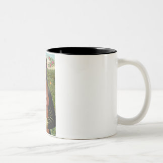 Mona Lisa - Dark Red Standard Poodle #1 Two-Tone Coffee Mug