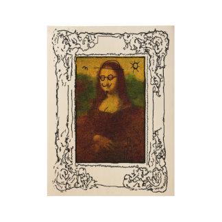 Mona Lisa Defaced Wood Poster