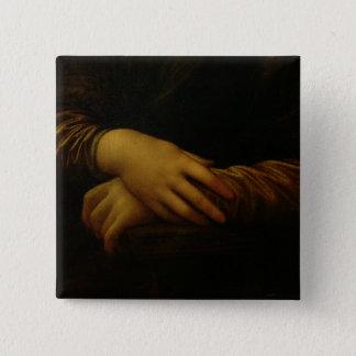 Mona Lisa, detail of her hands, c.1503-06 15 Cm Square Badge