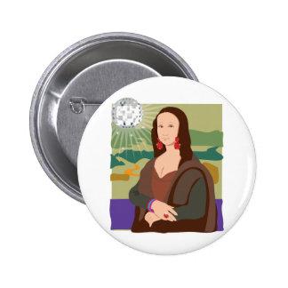 Mona Lisa Disco Lady Pinback Button