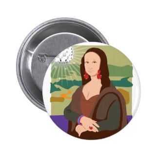 Mona Lisa Disco Lady Pinback Buttons