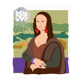 Mona Lisa Disco Lady Postcard