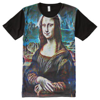 Mona Lisa Ghost Color Portrait All-Over Print T-Shirt
