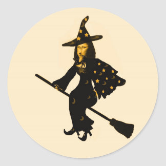 """Mona Lisa goes to Halloween Party""* Classic Round Sticker"