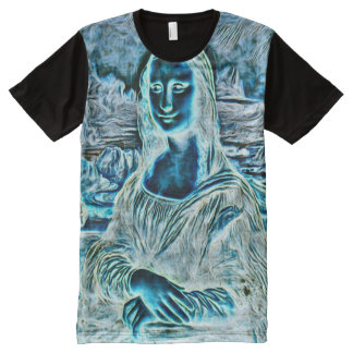 Mona Lisa Haunted Version Portrait All-Over Print T-Shirt