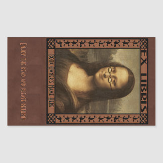 Mona Lisa in Reading Glasses (Personalized) Rectangular Sticker