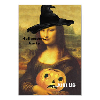"Mona Lisa ~ In Witch Costume Party Invitations 3.5"" X 5"" Invitation Card"