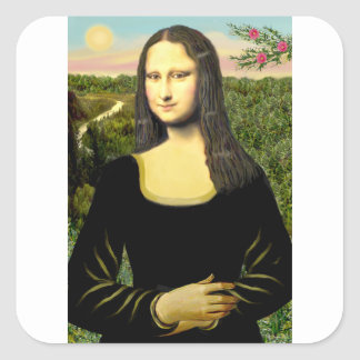 Mona Lisa - insert a pet (#2) Square Sticker