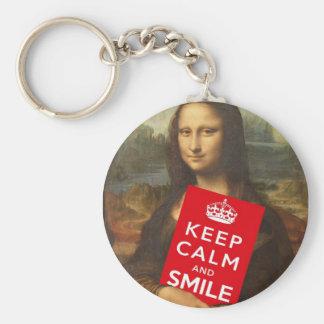 Mona Lisa Keep Calm And Smile Basic Round Button Key Ring