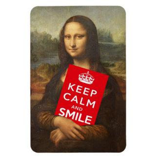 Mona Lisa Keep Calm And Smile Rectangular Photo Magnet