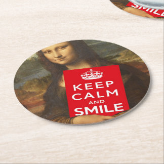Mona Lisa Keep Calm And Smile Round Paper Coaster