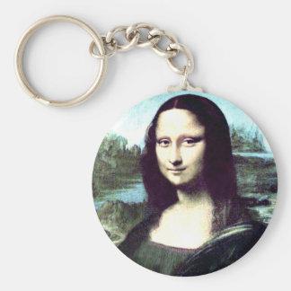 Mona Lisa Large Round Keychain