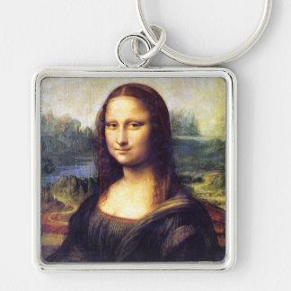 Mona Lisa, Leonardo da Vinci Silver-Colored Square Key Ring