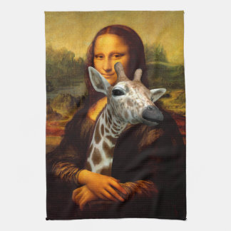 Mona Lisa Loves Giraffes Tea Towel