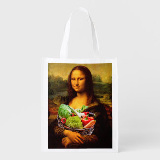 Mona Lisa Loves Vegetables Reusable Grocery Bag