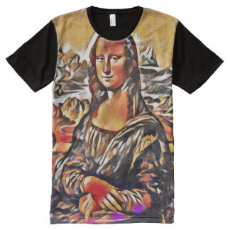 Mona Lisa Modern Cubism Portrait All-Over Print T-Shirt