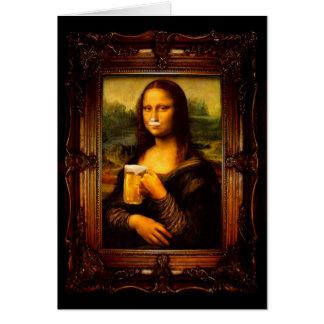 Mona lisa - mona lisa beer  - funny mona lisa-beer card
