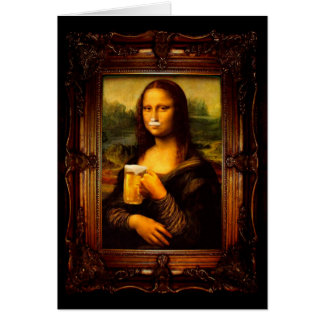 Mona lisa - mona lisa beer  - funny mona lisa-beer card