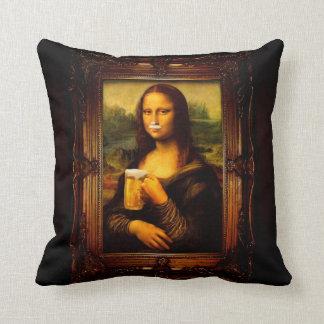 Mona lisa - mona lisa beer  - funny mona lisa-beer cushion