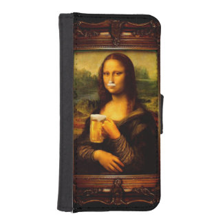 Mona lisa - mona lisa beer  - funny mona lisa-beer iPhone SE/5/5s wallet case