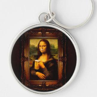 Mona lisa - mona lisa beer  - funny mona lisa-beer key ring