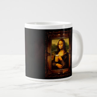 Mona lisa - mona lisa beer  - funny mona lisa-beer large coffee mug