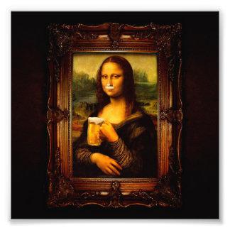 Mona lisa - mona lisa beer  - funny mona lisa-beer photo print