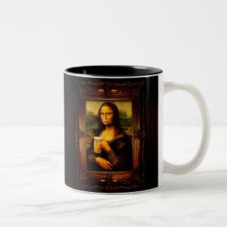 Mona lisa - mona lisa beer  - funny mona lisa-beer Two-Tone coffee mug