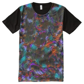 Mona Lisa Neo Abstract Portrait All-Over Print T-Shirt