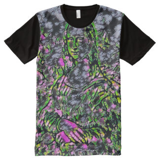 Mona Lisa Neon Portrait All-Over Print T-Shirt