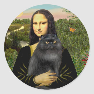 Mona Lisa - Persian cat (black) Classic Round Sticker